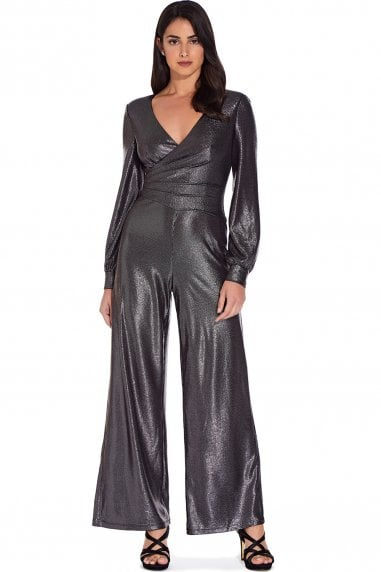 Gunmetal Metallic Jersey Jumpsuit