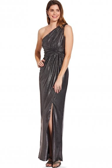 Gunmetal Metallic Jersey Dress