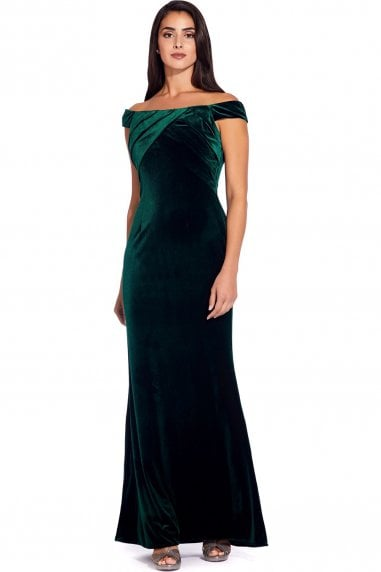 Emerald Stretch Velvet Dress