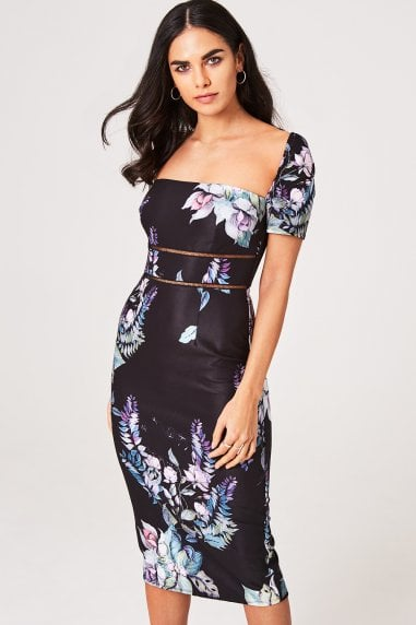 Roxby Black Floral Square-Neck Midi Bodycon Dress
