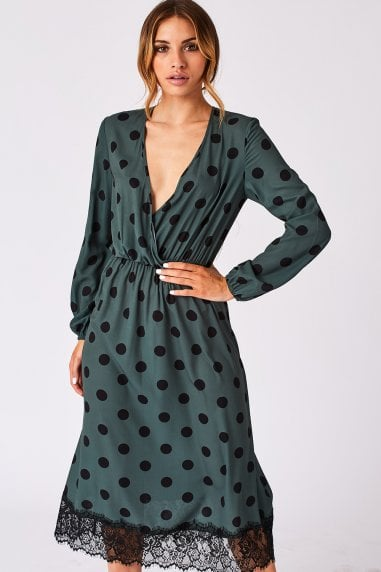 Cosset Green Polka-Dot Lace-Trim Midi Dress