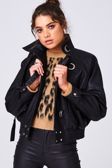 Chaos Black Faux-Leather Bomber Jacket