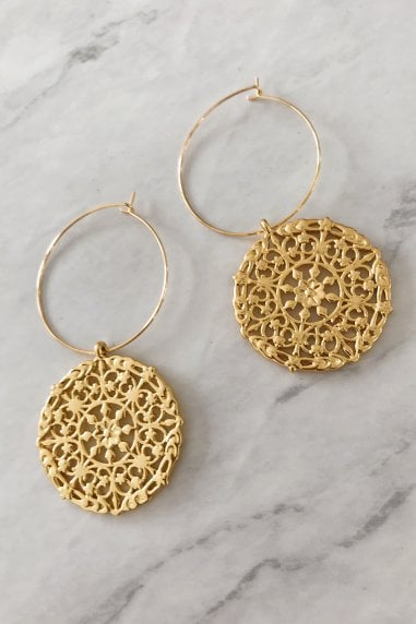 Large Gold Disc Hoop Earrings