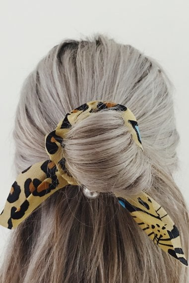 Animal Bow & Pearl Hair Scrunchie