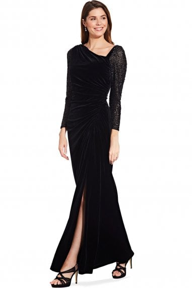 Black Velvet And Sequin Gown