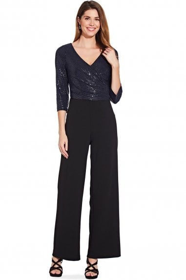 Navy & Black Sequin Knit Crepe Jumpsuit