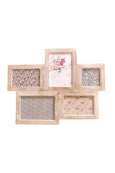 White Wood Photo Frame with 5 Apertures