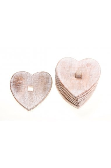 Wooden Heart Coasters - Set of 6