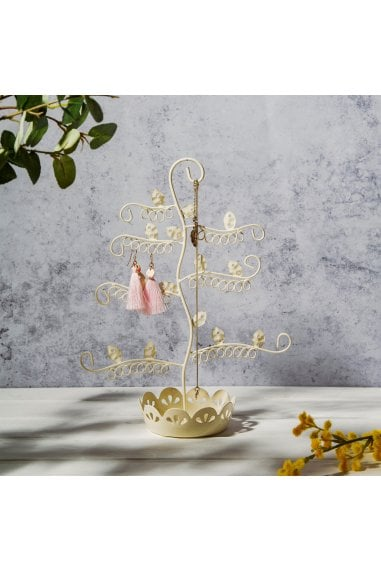 Flowery Earring Stand- Cream