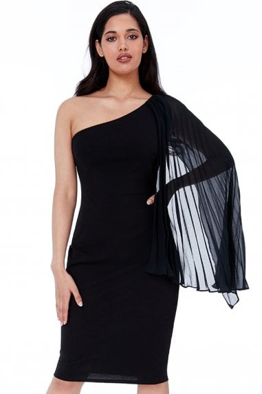 Black Chiffon Sleeve One Shoulder Midi Dress