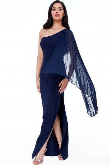 Navy Asymmetric Chiffon Sleeve One Shoulder Maxi Dress
