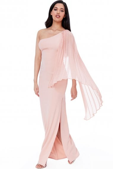 Nude Asymmetric Chiffon Sleeve One Shoulder Maxi Dress