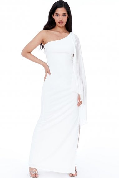 Cream Asymmetric Chiffon Sleeve One Shoulder Maxi Dress