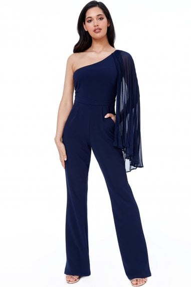 Navy Chiffon Sleeve One Shoulder Jumpsuit