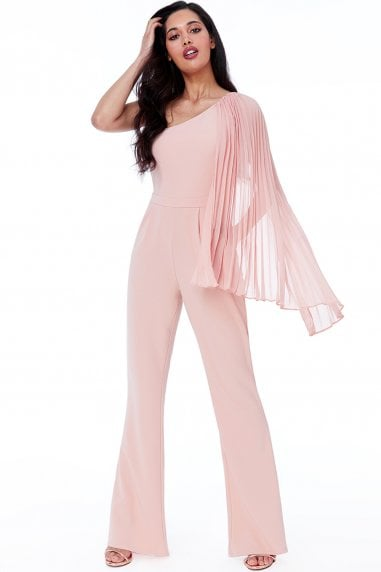 Nude Chiffon Sleeve One Shoulder Jumpsuit