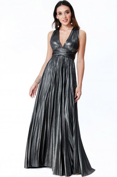 Black Deep V Neck Metallic Maxi Dress