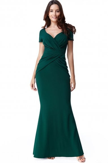 Emerald Crossover Top Maxi Dress