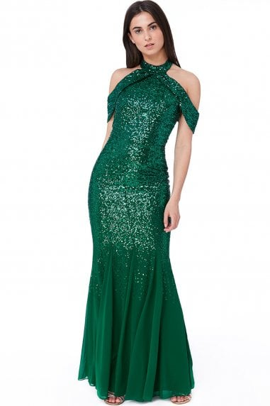 Emerald Cut Out Sequin and Chiffon Maxi Dress