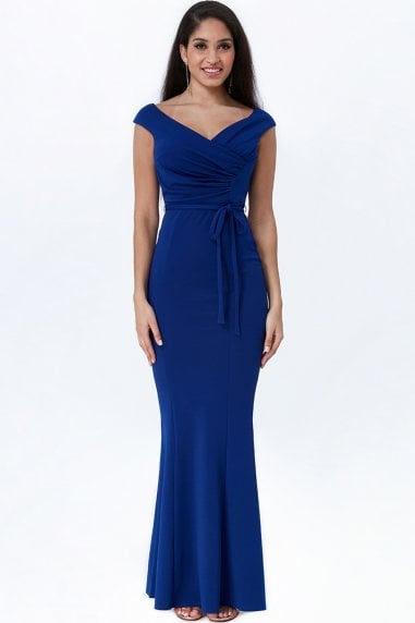 Royal Blue Pleated Tie Detail Maxi Dress