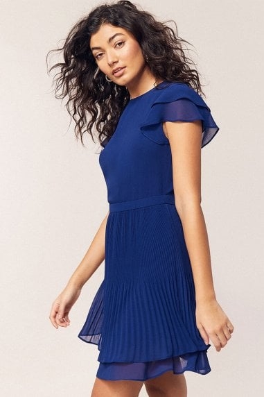Rich Blue Chiffon Pleated Skater Dress