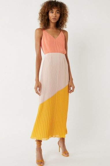 Colour Block Pleated Maxi Dress