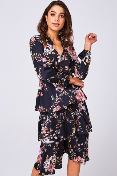 Peace Black Floral-Print Tiered Midi Tea Dress