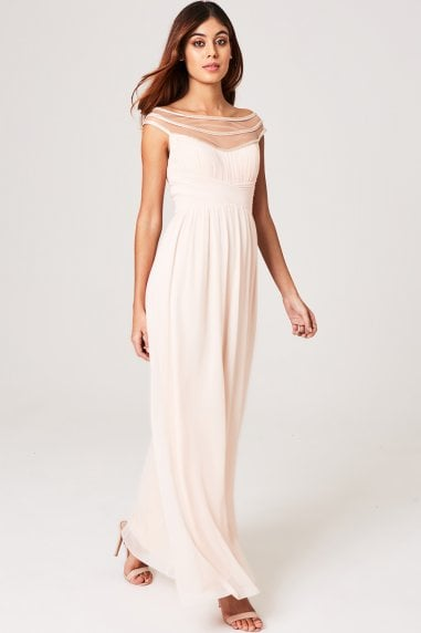 Elana Nude Embellished Off-The-Shoulder Maxi Dress