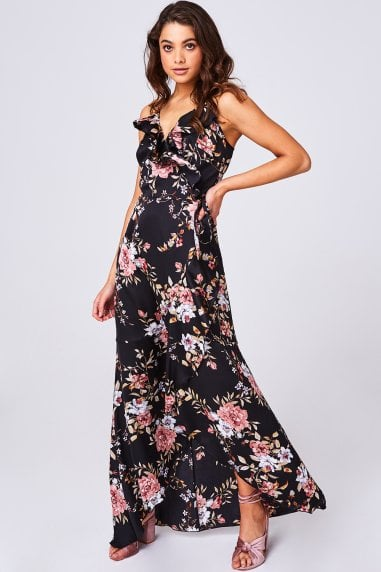 Glory Black Floral-Print Frill Maxi Wrap Dress