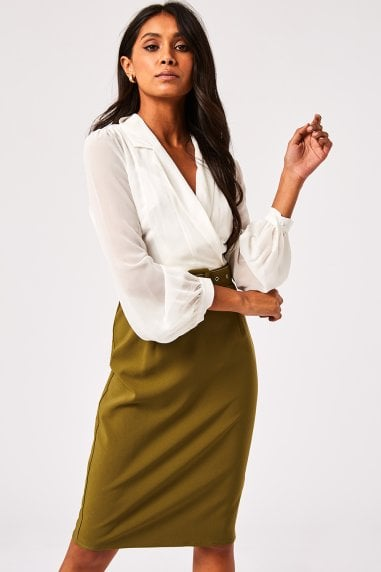 Anjo Olive Belted Shirt Dress