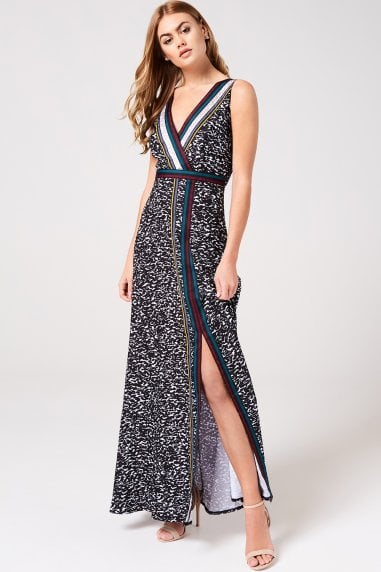 Sylvia Animal-Print and Grosgrain Maxi Dress