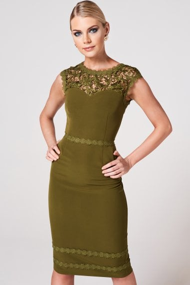 Enzi Olive Lace-Trim Bodycon Dress
