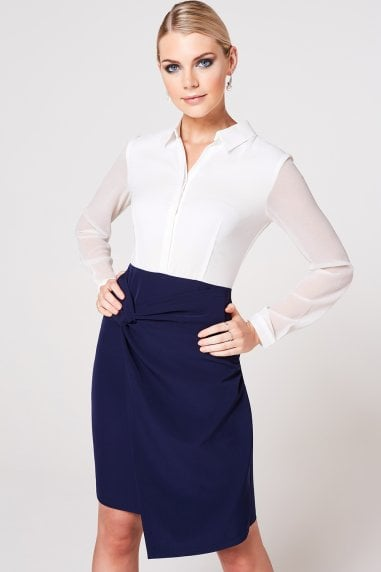 Soma Navy Twist Detail Shirt Dress