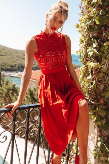 Alice Red Sleeveless Crochet Top Midi Dress With Pleated Skirt