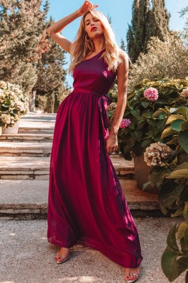 Nikki Mulberry One-Shoulder Maxi Dress