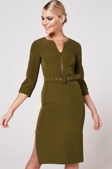 Nomi Olive Self Belt Pencil Dress