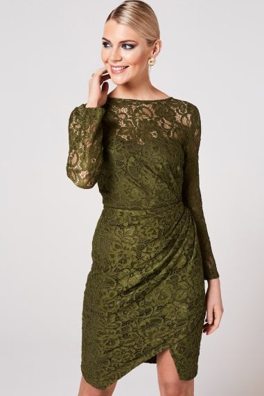 Ama Olive Ruched Lace Dress