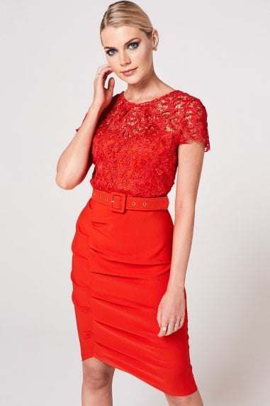 Nala Tomato Crochet Belted Dress