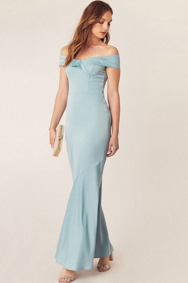 Pale Green Bardot Slinky Maxi Dress