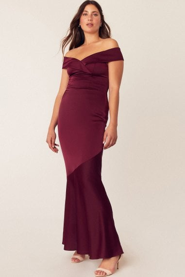 Burgundy Bardot Slinky Maxi Dress
