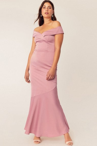 Pale Pink Bardot Slinky Maxi Dress