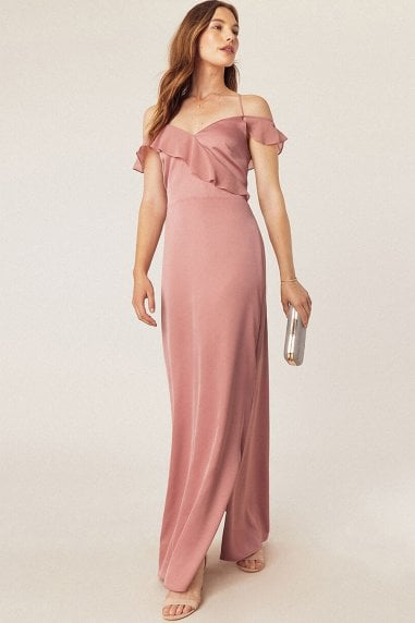 Pale Pink Ruffle Satin Maxi Dress