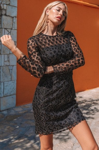 Vivian Black Animal-Lace Mini Bodycon Dress