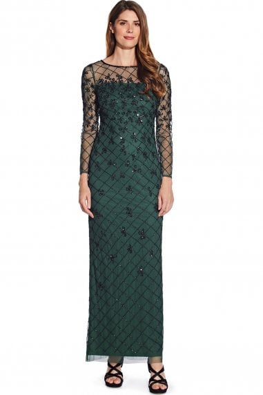 Dusty Emerald Beaded Long Column Gown