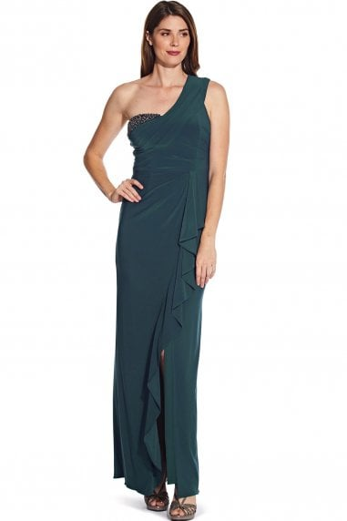 Midnight Teal One Shoulder Jersey Gown