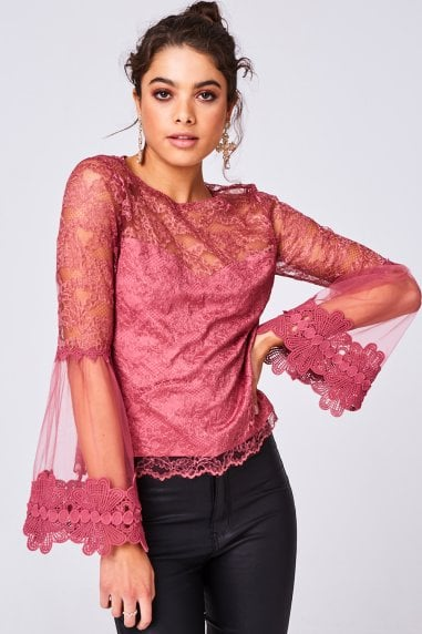 Carnation Rose Lace Flute Sleeve Top