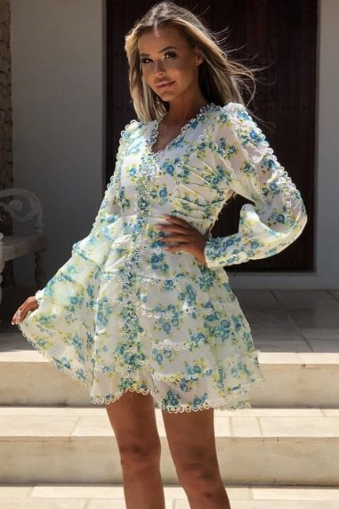 Nina White and Blue Floral Mini Dress