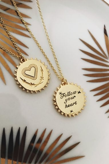 Gold Plated Reversible Heart Disc Necklace
