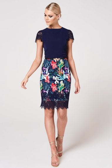 Ako Navy Tropical-Print Belted Pencil Dress