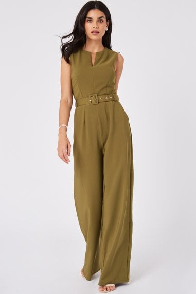 Kaia Olive Self Belt Jumpsuit