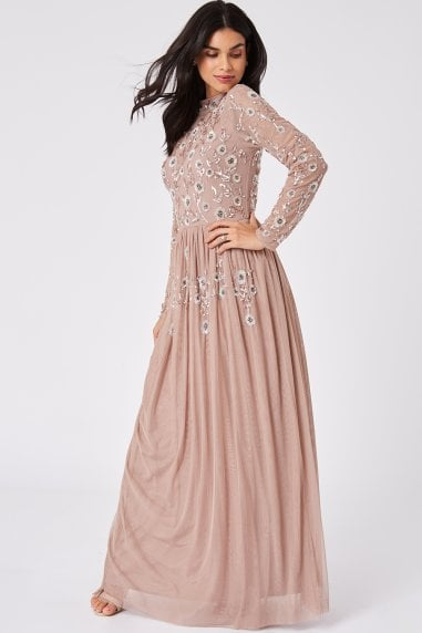 Luxury Haley Mink Hand-Embellished Floral Sequin Maxi Dress